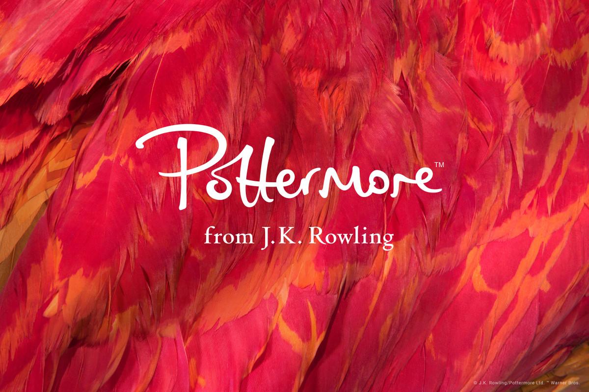"""Imagem promocional para o site """"Pottermore"""". Ao fundo, uma Fênix"""