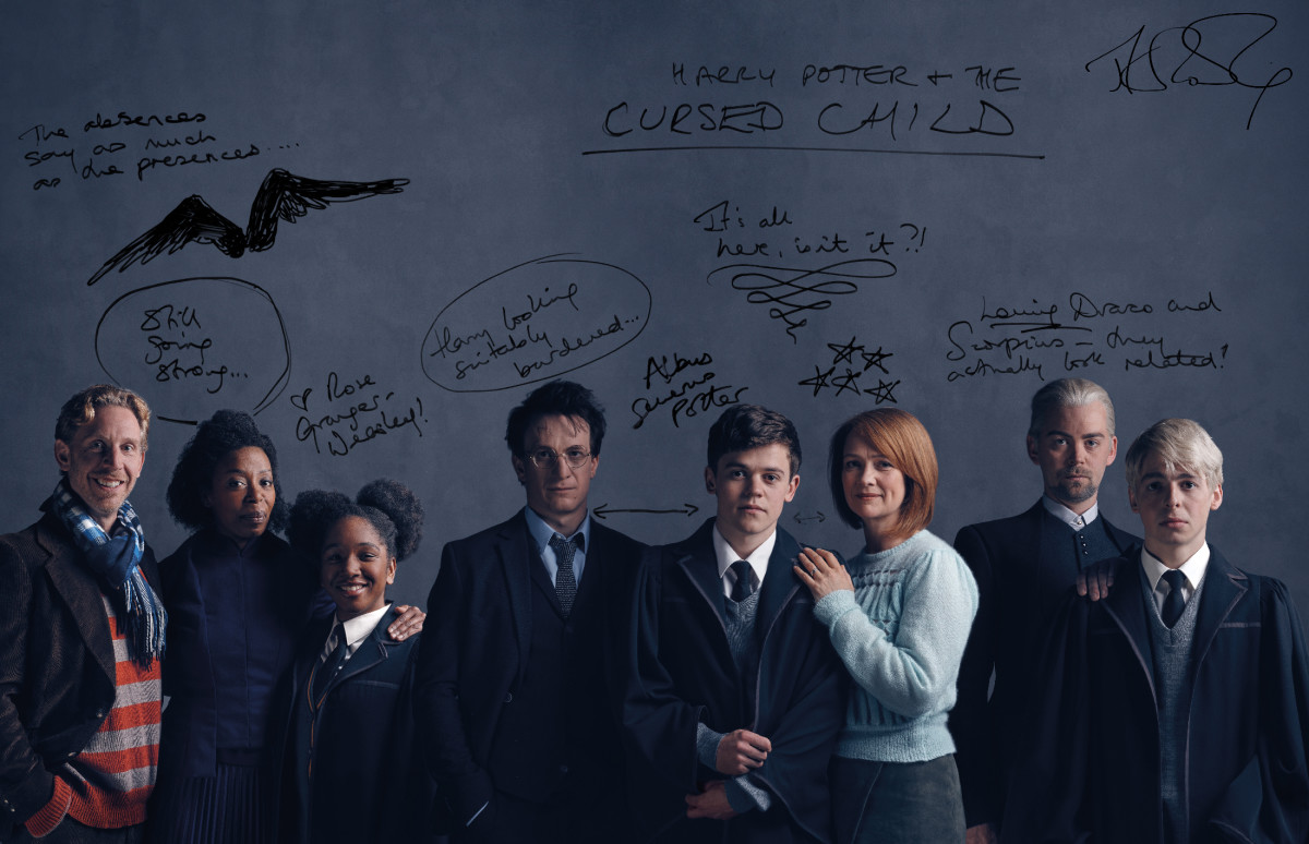 """De esq. para a dir., o elenco original da peça """"Harry Potter e a Criança Amaldiçoada"""": Rony Weasley (Paul Thornley), Hermione Granger (Noma Dumezweni), Rose Granger-Weasley (Cherrelle Skeete), Harry Potter (Jamie Parker), Alvo Severo Potter (Sam Clemmett), Gina Potter (Poppy Miller), Draco Malfoy (Alex Price), Scorpio Malfoy (Anthony Boyle)"""