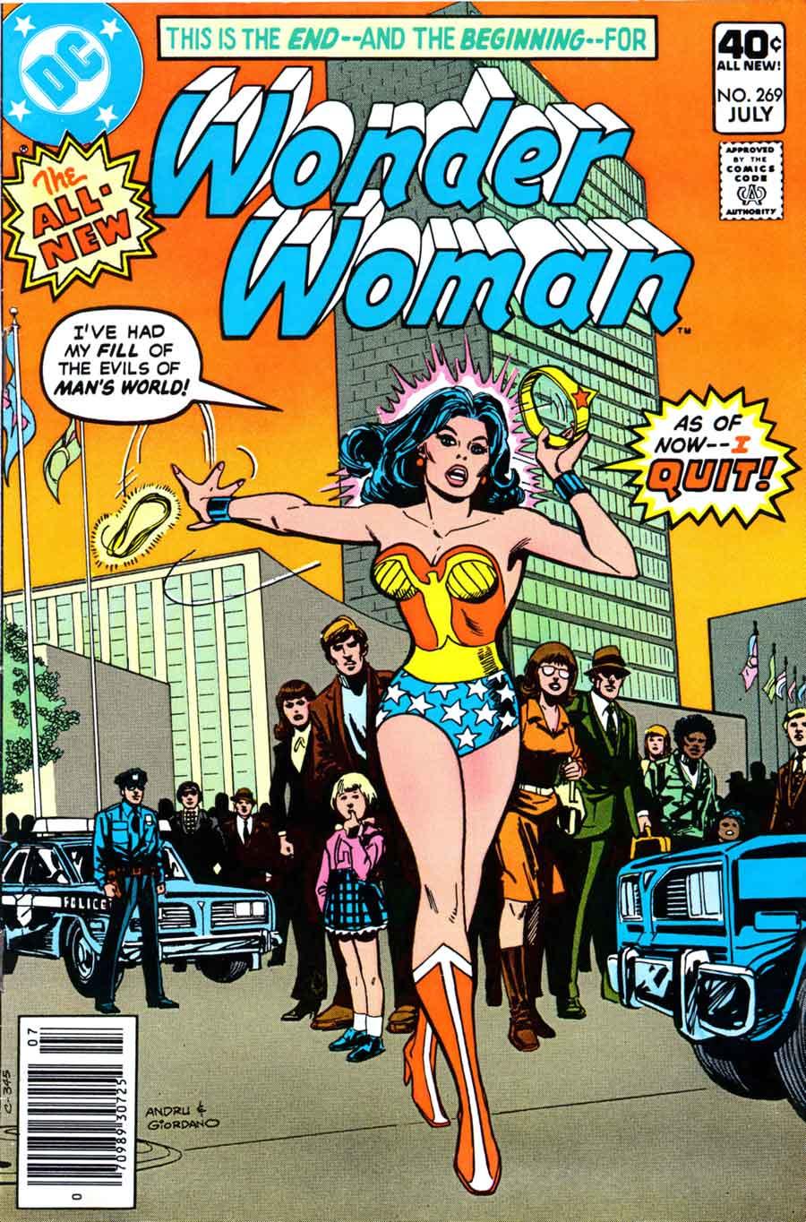 """Capa da edição #269. Nas falas de Diana, lê-se: """"Eu tive o meu limite do malvado Mundo dos Homens. E desde agora, eu me demito!"""""""