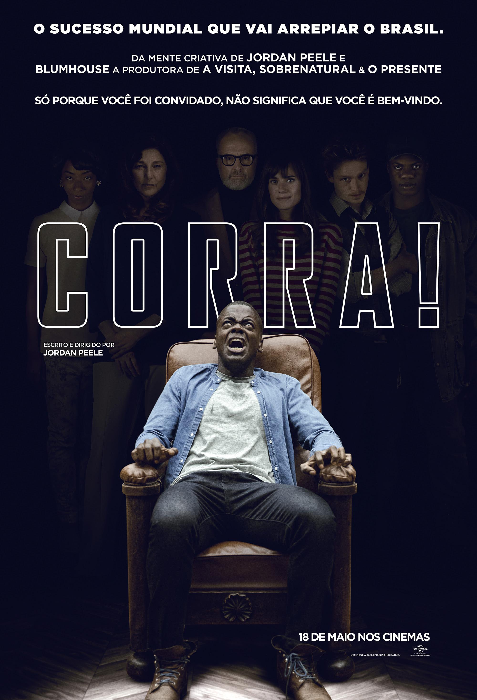Pôster do já consagrado Corra! (2017), terror que trabalha com críticas ao racismo e outras questões sociais